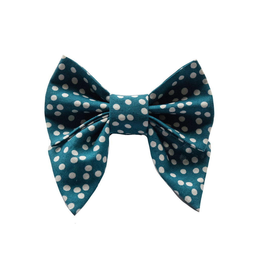 Teal Dots Sailor Bow