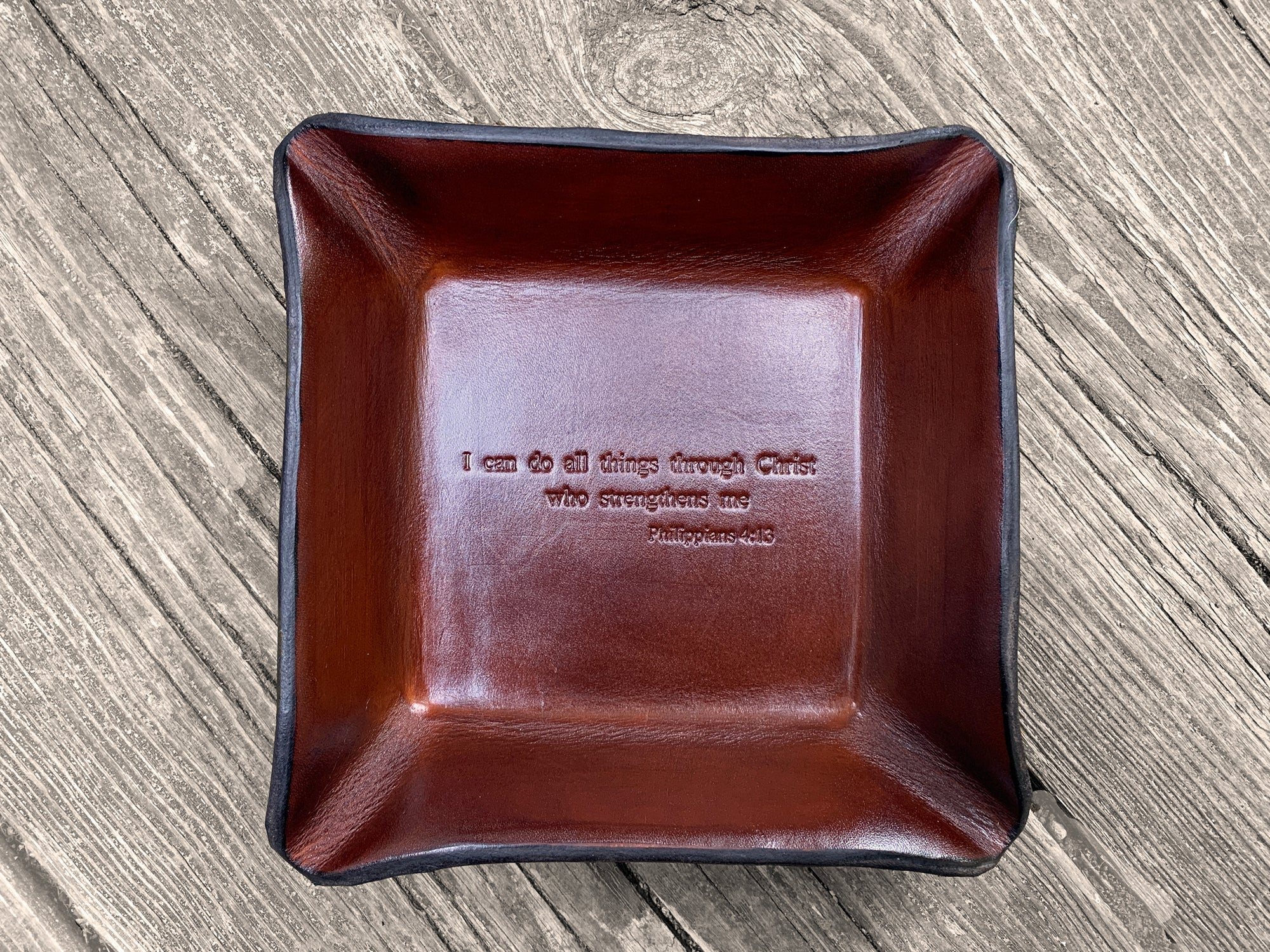 Our Philippians 4:13 Leather Tray is a Great Gift for a Christian Milestone