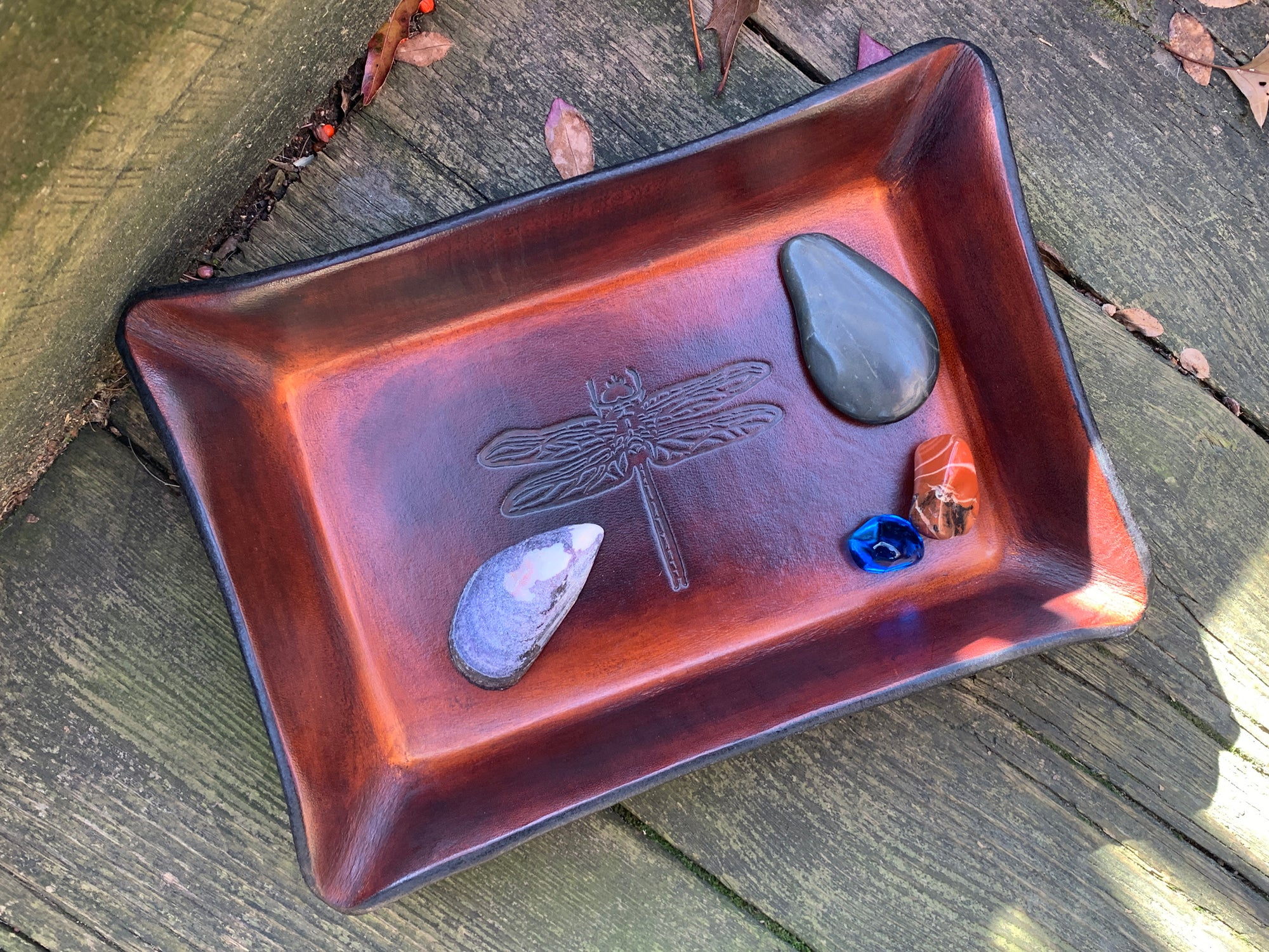 Our Dragonfly Motif Leather Tray is Perfect for the Hard to Shop for Person on Your List