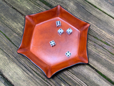 Leather Dice tray for games. Made in the USA.