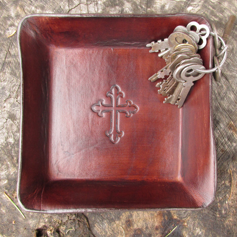 Leather valet tray with cross image