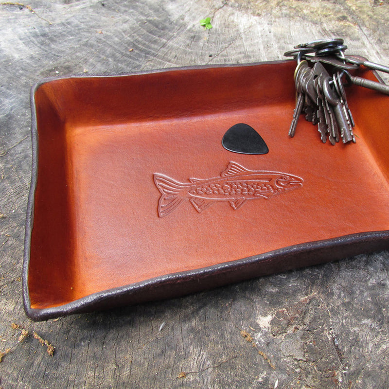 Leather Valet Trays.  Twin Saints Leather
