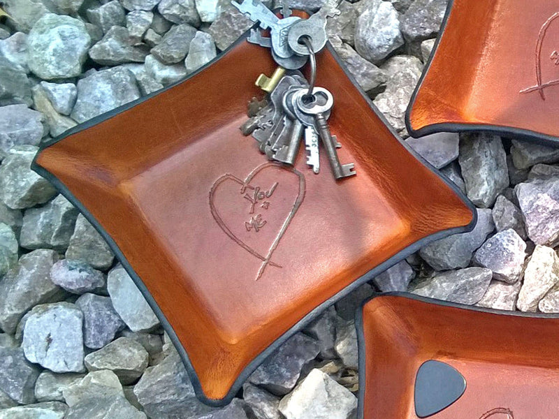Leather tray with heart image. Third anniversary gift.