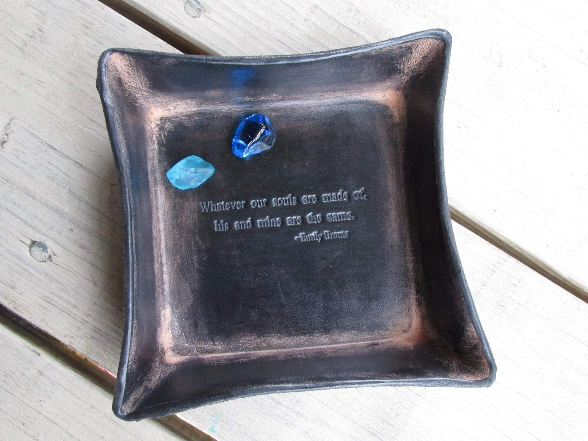 3rd Anniversary Gift. Leather Tray. Emily Bronte Quote.