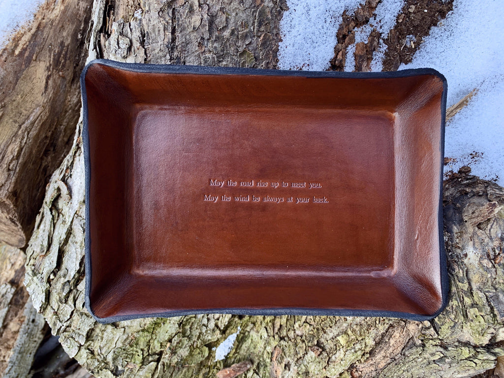 Wedding or anniversary gift with Irish blessing.  Leather valet.