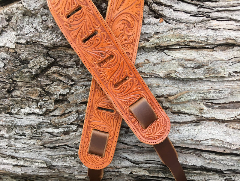 Twin Saints Leather. Hand tooled banjo cradle strap
