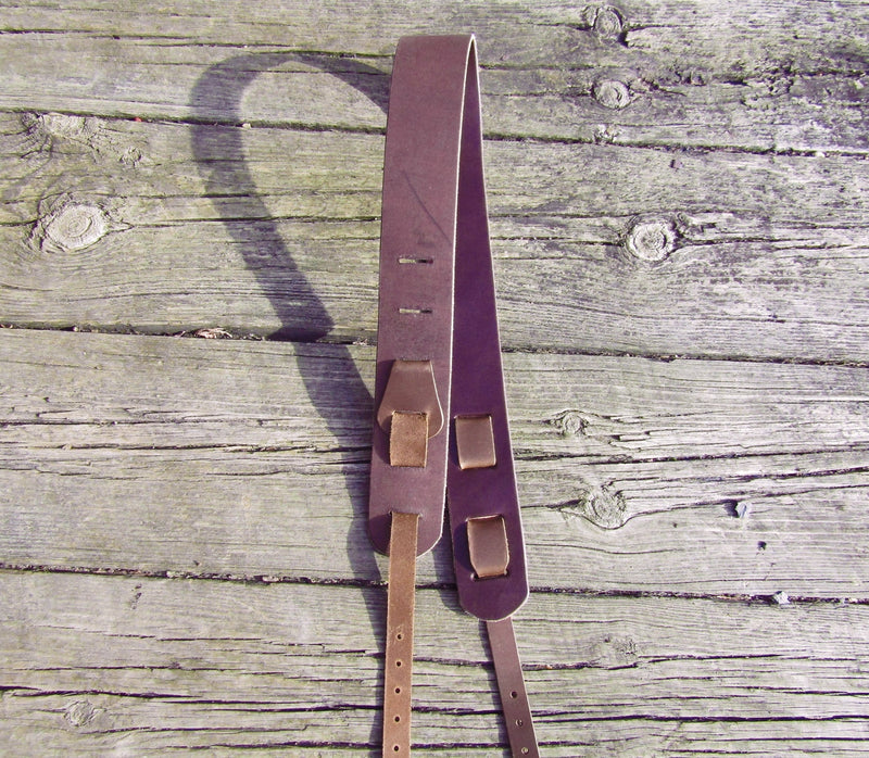 Bridle leather banjo strap. Twin Saints Leather.