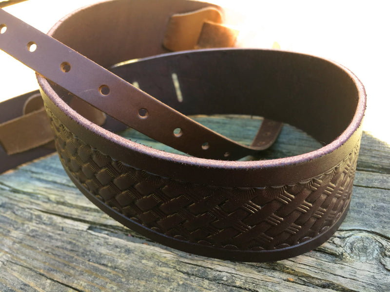 Hand tooled basket weave leather banjo strap: The Ralph