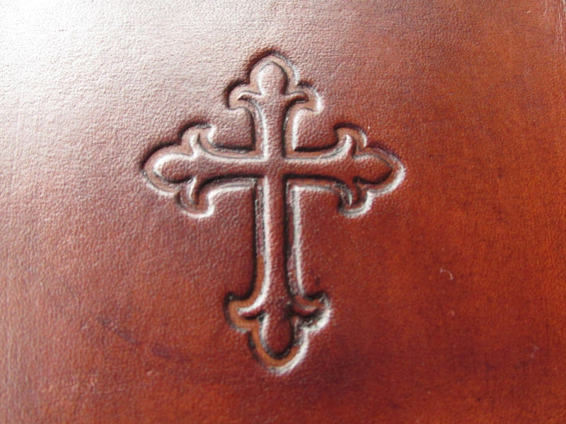 Religious occasion gift leather tray. Brown. Detail.