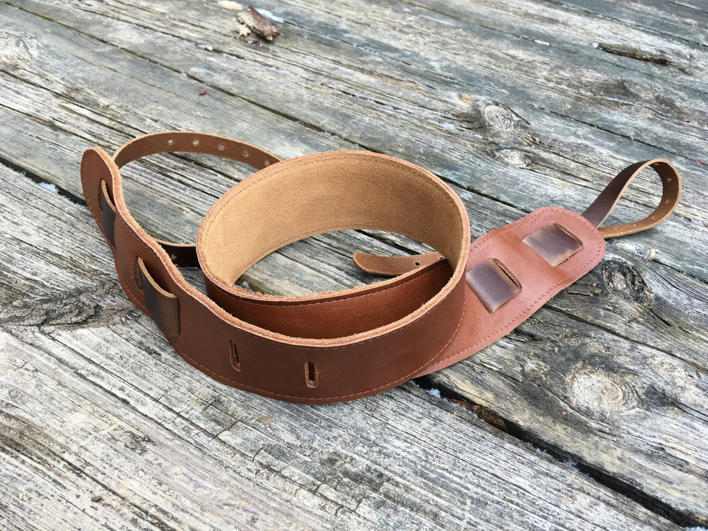 Bluegrass leather banjo strap.  Tan leather and suede.