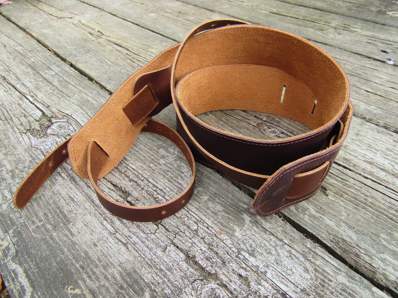 Leather banjo cradle strap. Twin Saints Leather.