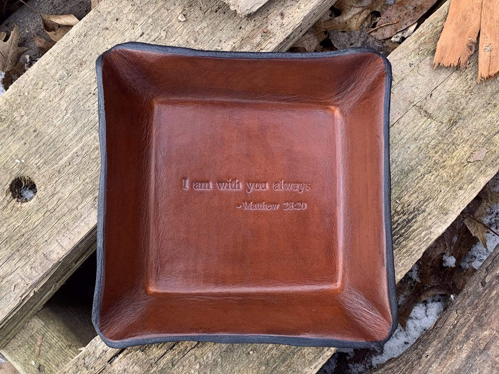 Christian bible verse gift.  Leather Tray.
