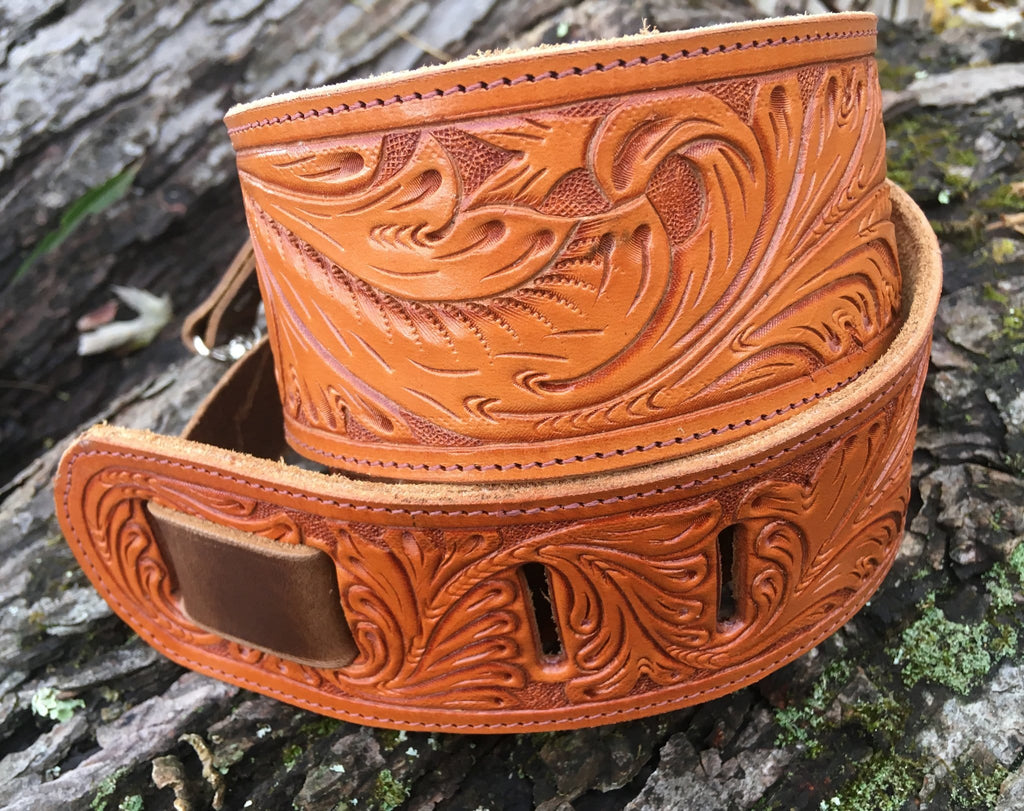 The Antonia:  A Hand Tooled Leather Banjo Strap