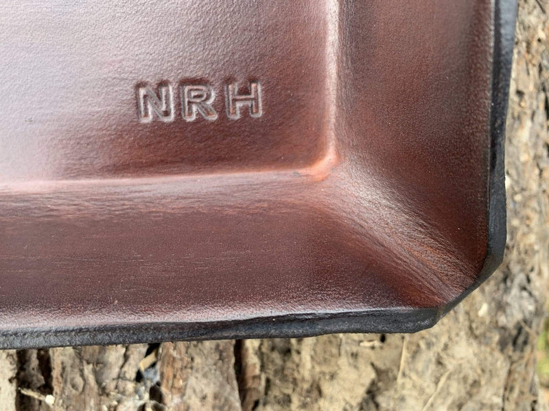 Detail of monogram for sobriety gift leather valet.