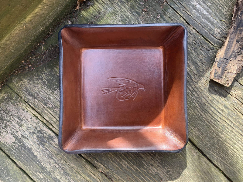 Leather Catchall. Fly Fishing Motif.