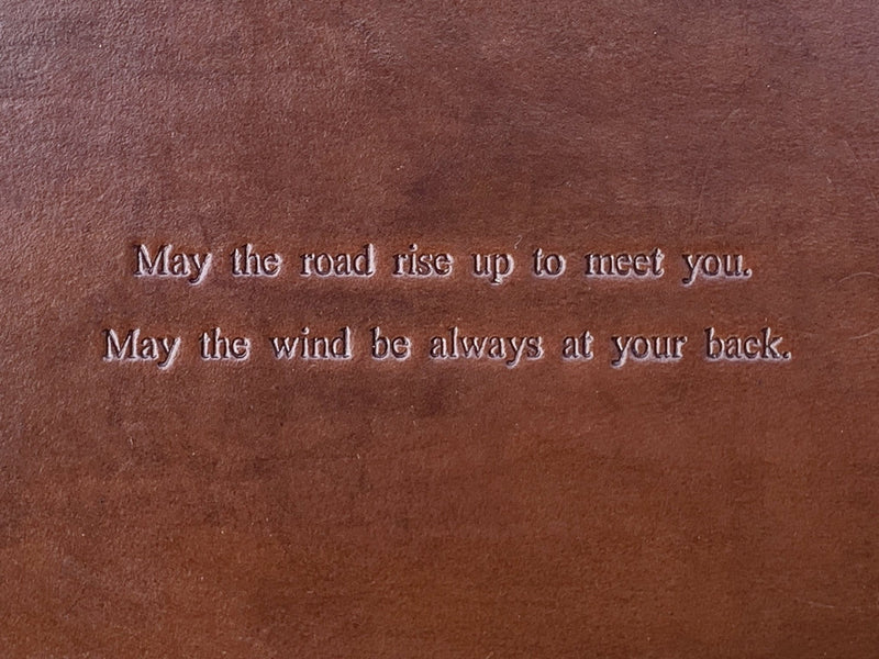 detail of Irish blessing leather tray.