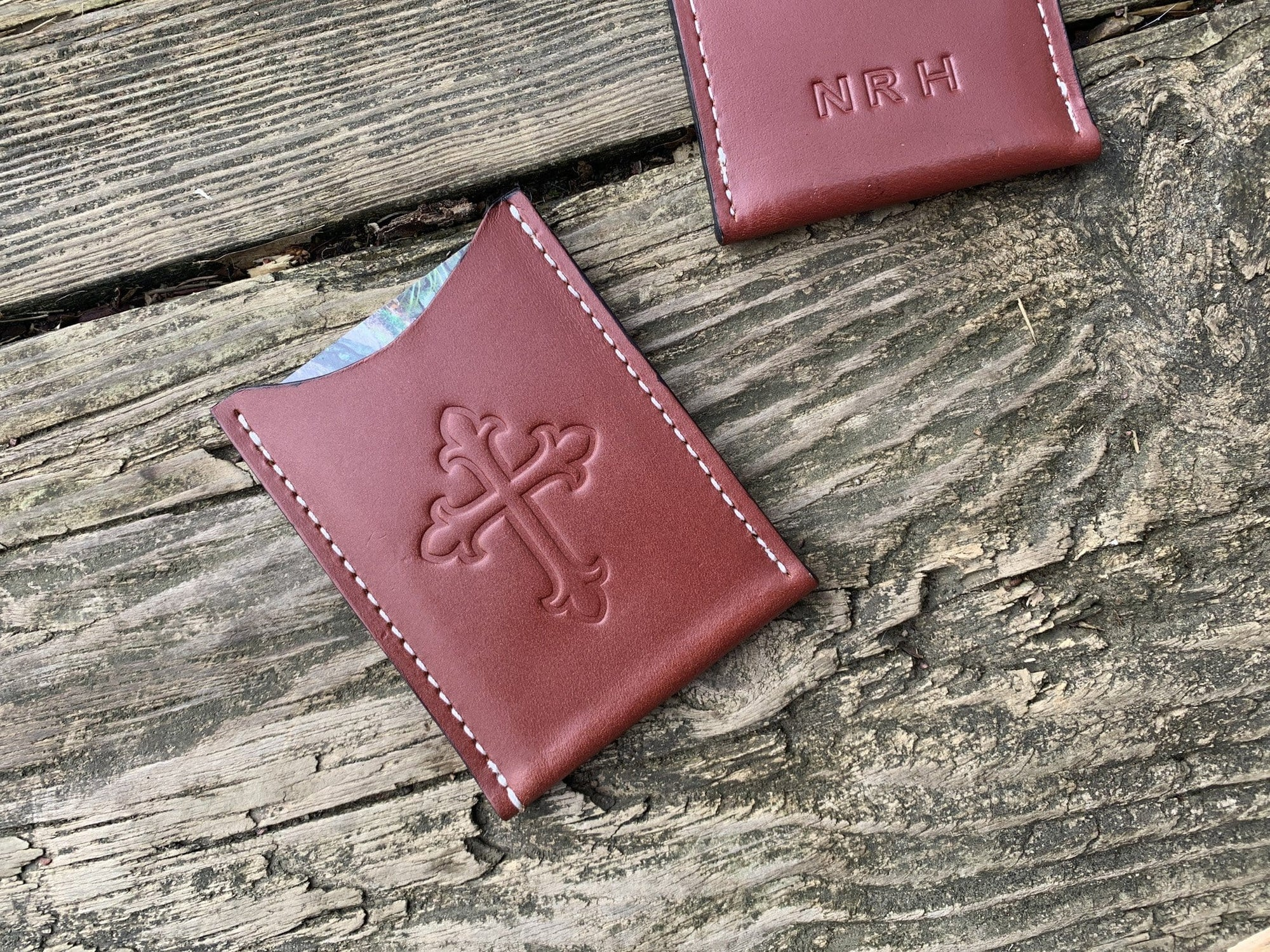 Religious gift. Leather card wallet with cross. Monogram available.