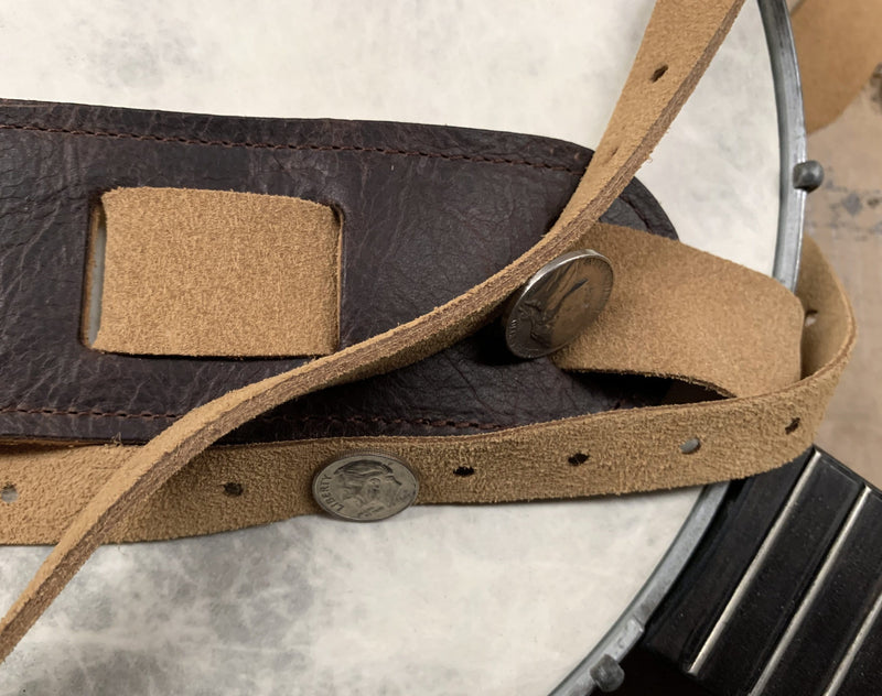 Detail showing thickness of suede banjo strap end pieces.