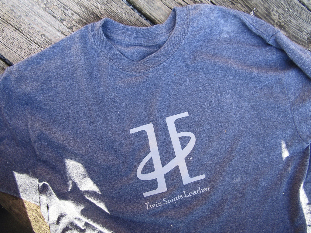 Logo t-shirt. Twin Saints Leather. Navy Heather.