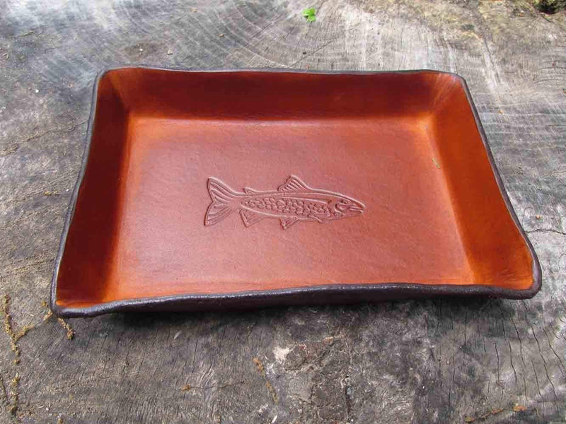 Leather tray with trout image. Leather anniversary gift for men.