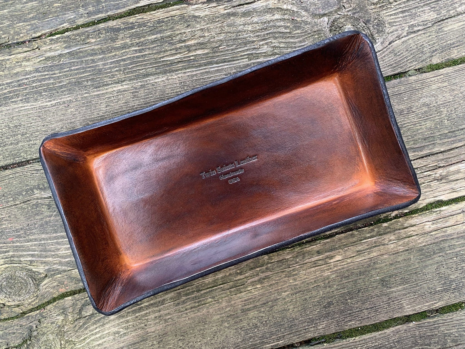 Gifts for Men Desk Organizer Catchall Tray Twin Saints Leather Logo Leather Tray Made in the USA. Leather Valet Tray