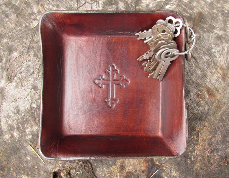 Christian cross leather desk tray. Brown.