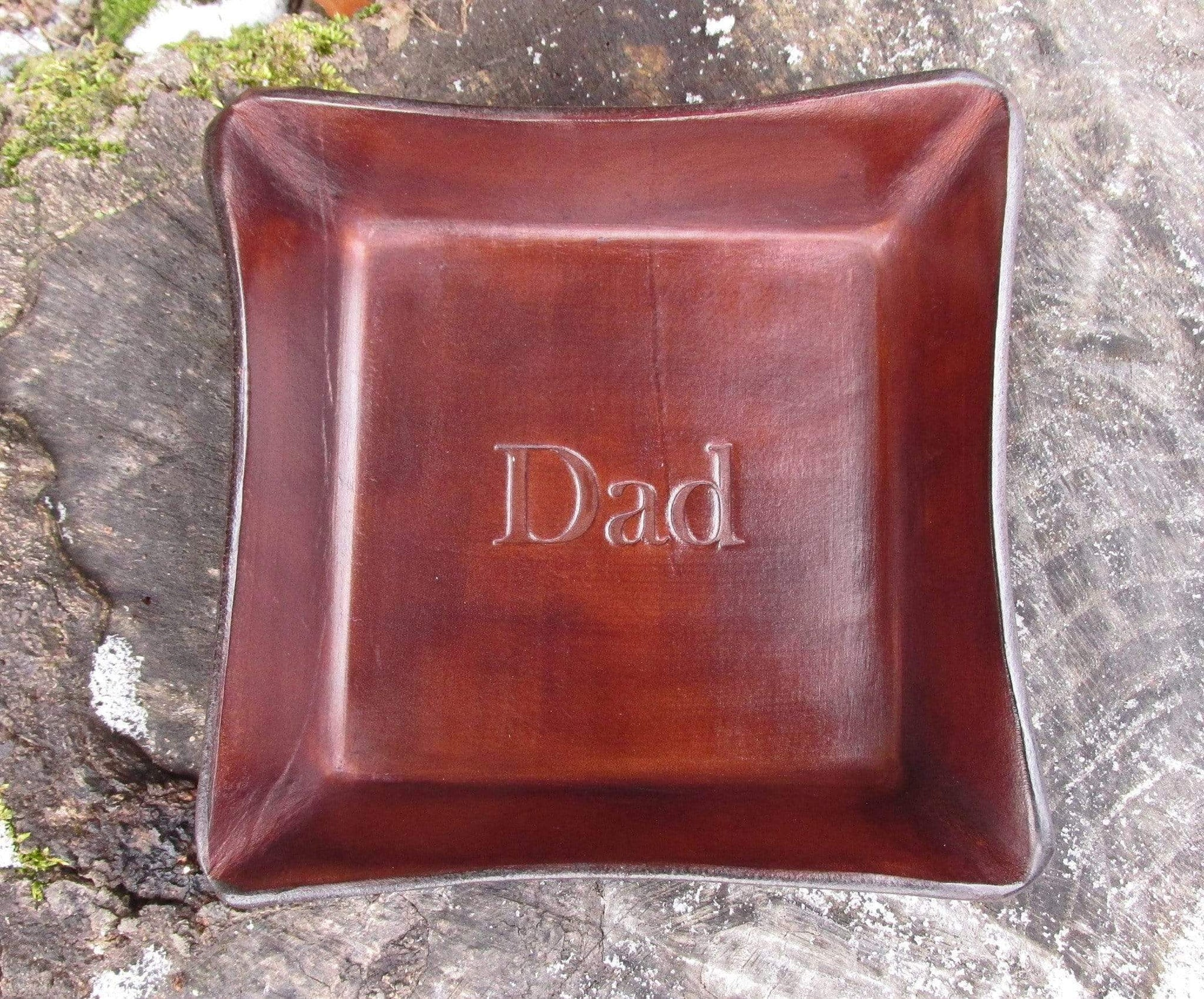 Gift for Dad Embossed Leather Valet Tray.