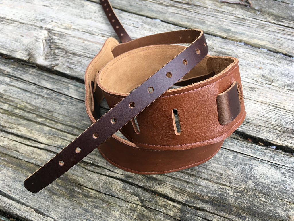 Leather and suede cradle banjo strap