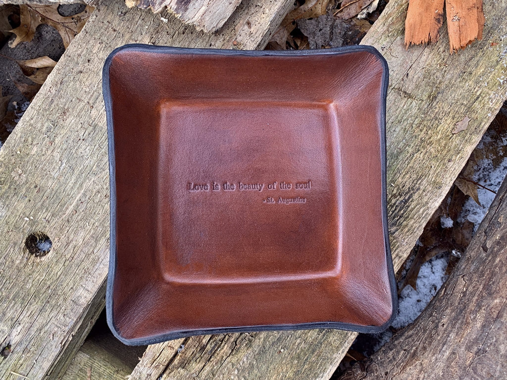 Leather anniversary gift valet tray.  Love is the beauty of the soul