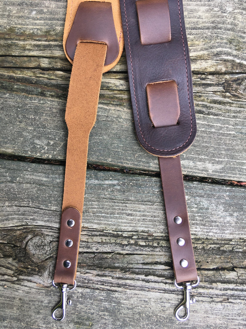 Detail of easy attach banjo strap with clips.