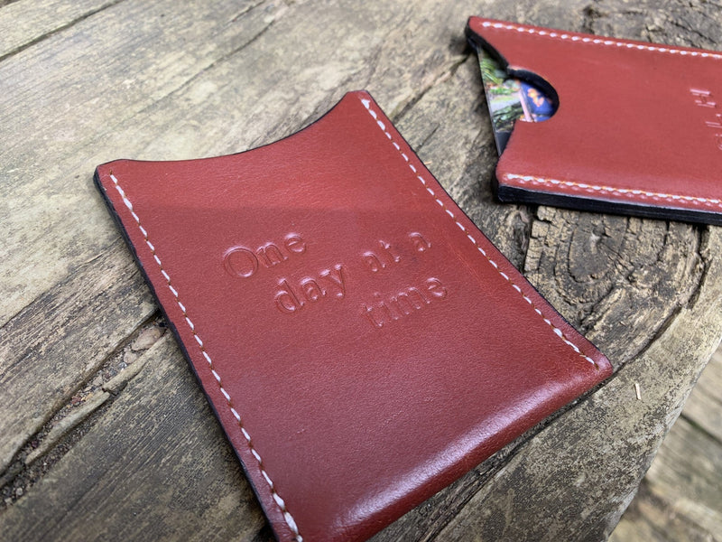 Monogrammed leather card wallet. Recovery Gift.