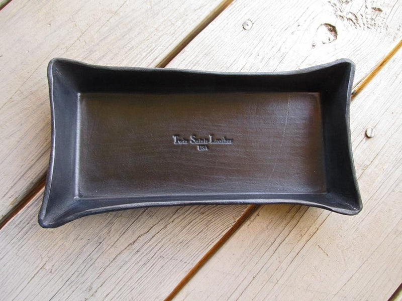 Solid black leather tray. Twin Saints leather.