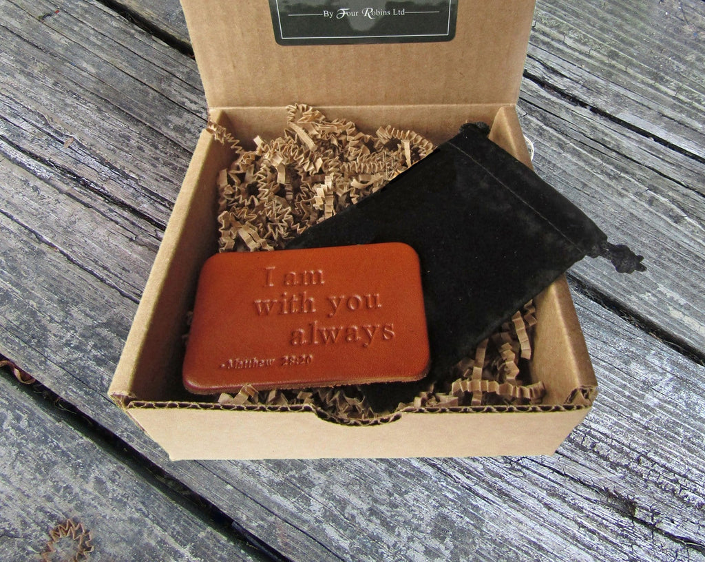 Leather wallet card with bible verse. Matthew 28:20