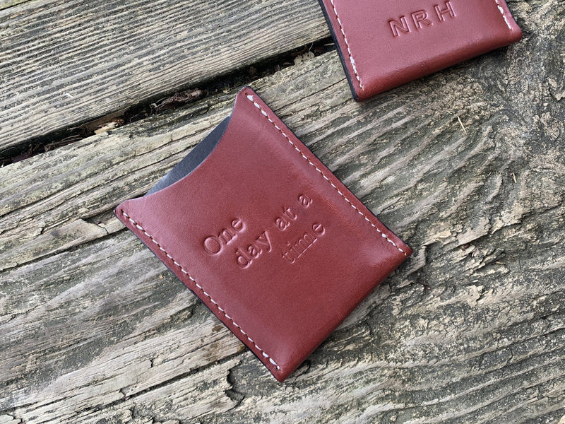 One Day at a Time leather card wallet. Recovery gift.