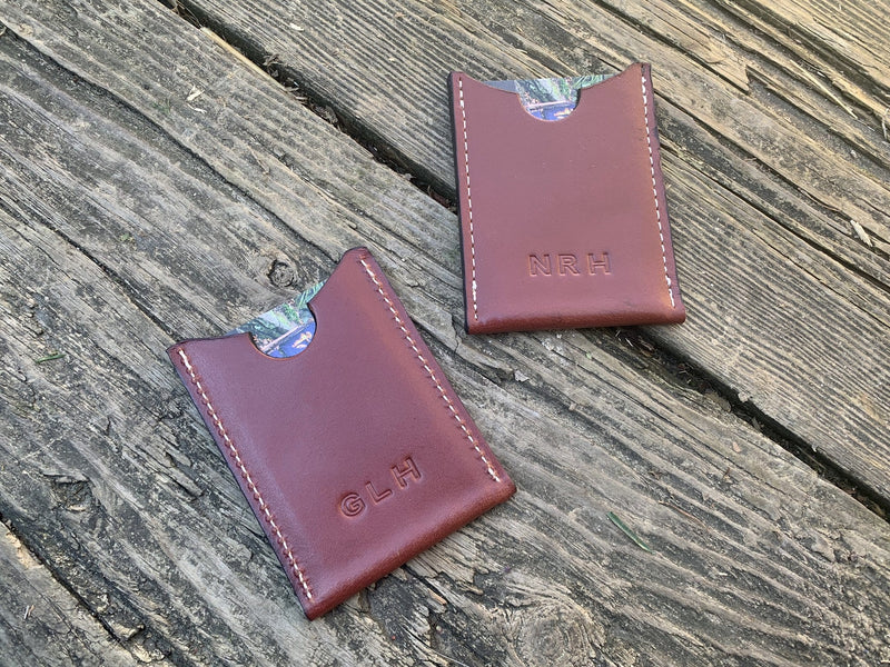 Sobriety gift leather wallet with monogram. Reverse side.