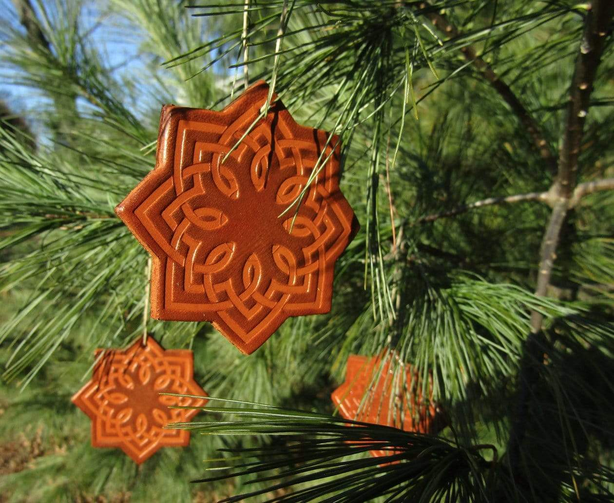 Rustic leather Christmas ornaments. Deep Tan. Star shape.