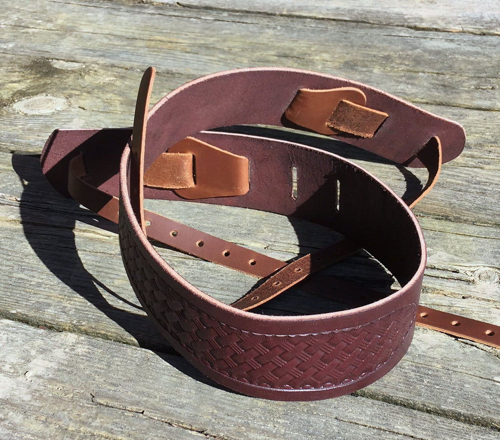 Tooled bridle leather banjo strap. Twin Saints Leather