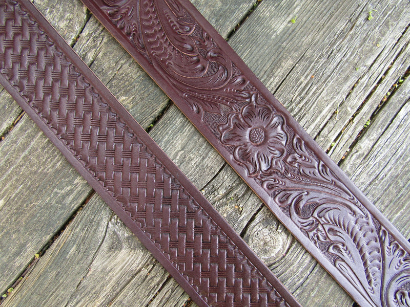 The Rosa :  A Hand-tooled Bridle Leather Banjo Strap