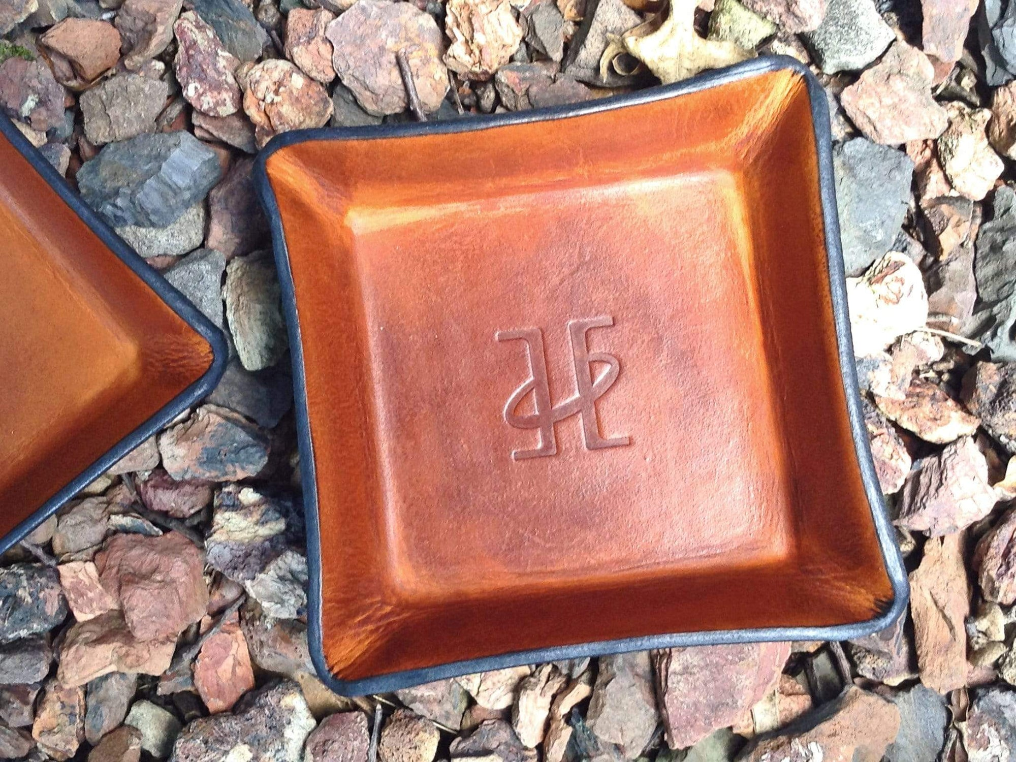 Tan Leather Valet Tray with Twin Saints Leather Logo