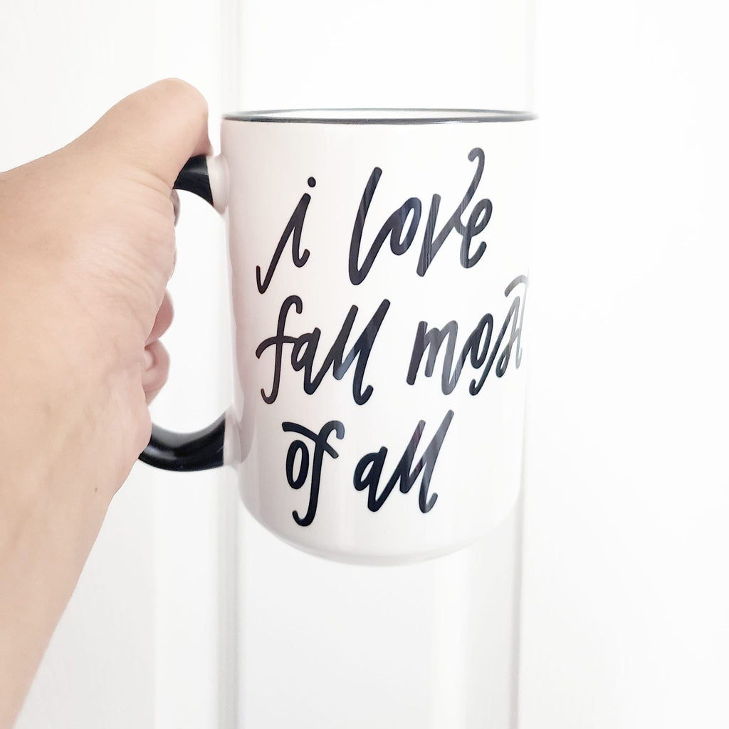 Mug, ceramic mug, i love fall mug