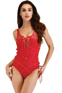Chic Lace Side-Tie One-Piece Swimwear