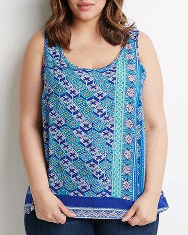 U Neck Sleeveless Printed Tank Top