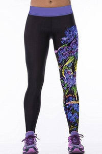 Plant Print High Stretchy Yoga Leggings For Women