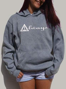 Hooded Long Sleeve Letter and Geometirc Pattern Pullover Hoodie