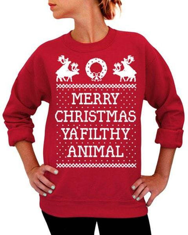 Round Collar Long Sleeve Deer and Letter Print Christmas Sweatshirt