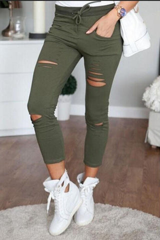 Solid Color Drawstring Cut-Out Leggings