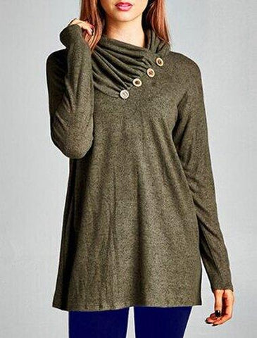 Cowl Neck Long Sleeve Button Design Ruched T-Shirt
