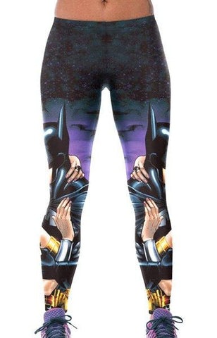 Elastic Waist Batman Print Bodycon Leggings
