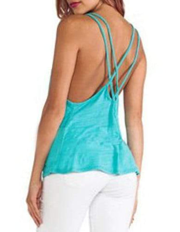 Strappy Sleeveless Hollow Out Criss-Cross Solid Color Tank Top