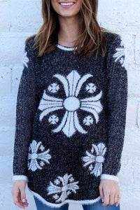 Cross Printed Jewel Neck Thick Mohair Pullover Sweater